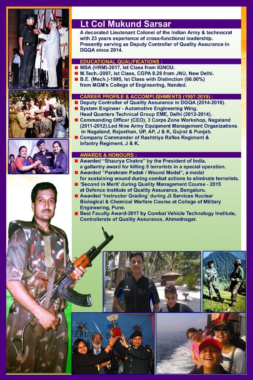 Lt Col Mukund Sarsar